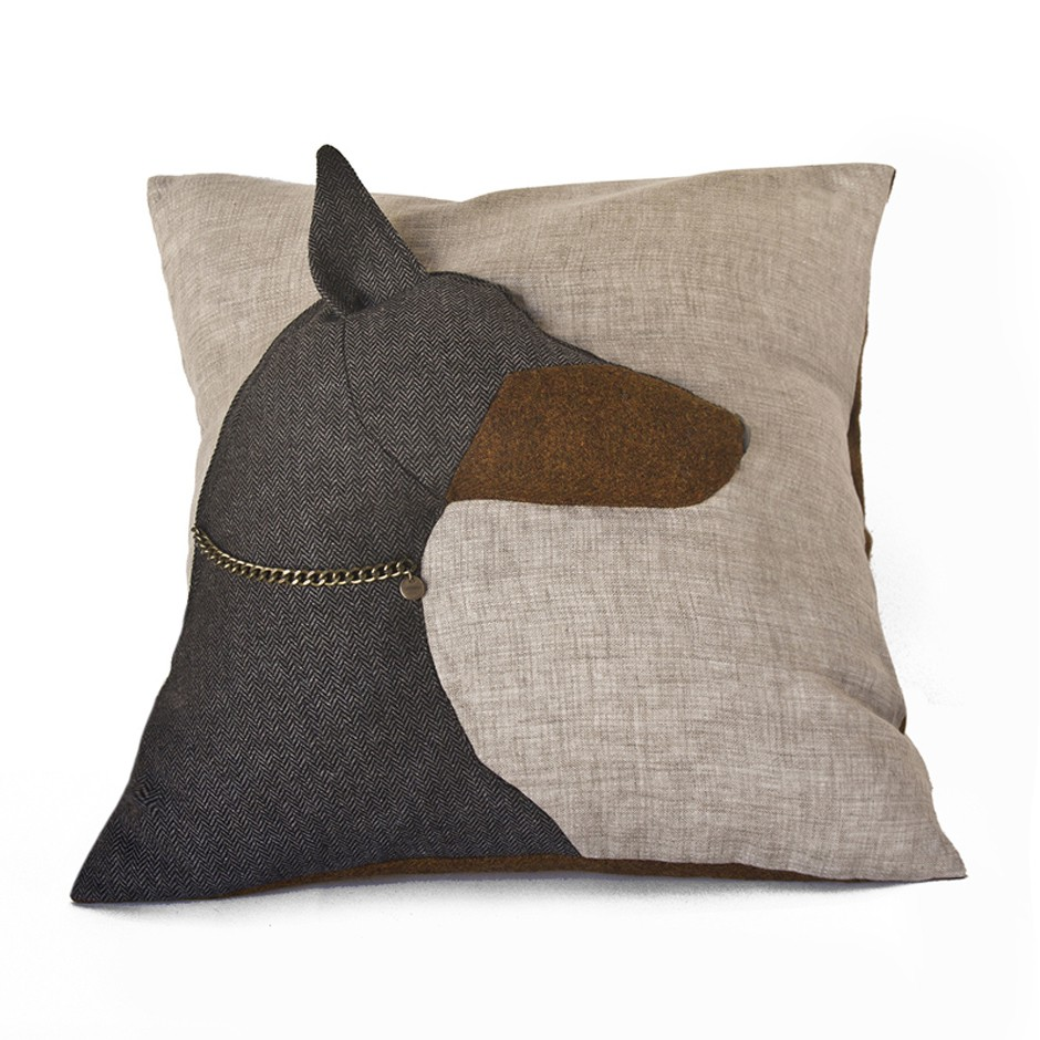 Doberman Cushion - Charcoal